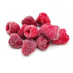 frozen raspberries isolated on white