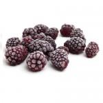 frozen blackberries isolated on white background